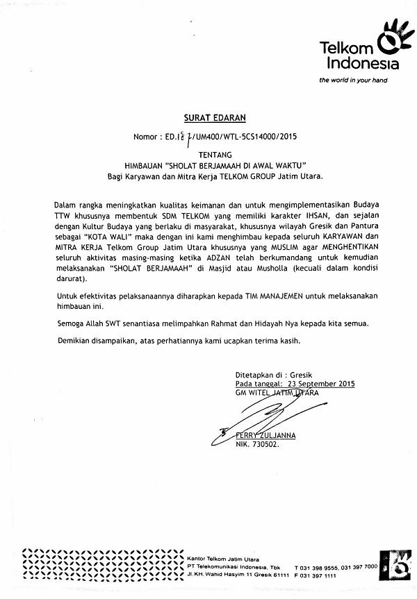 Surat Edaran shalat jamaah GM Telkom Jatim Utara