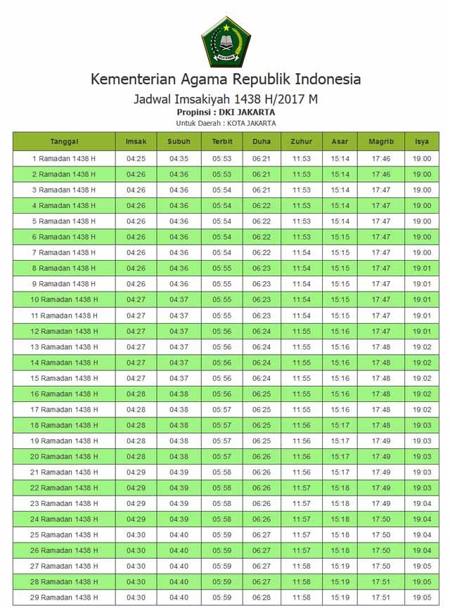 Jadwal Imsakiyah Ramadhan 2017