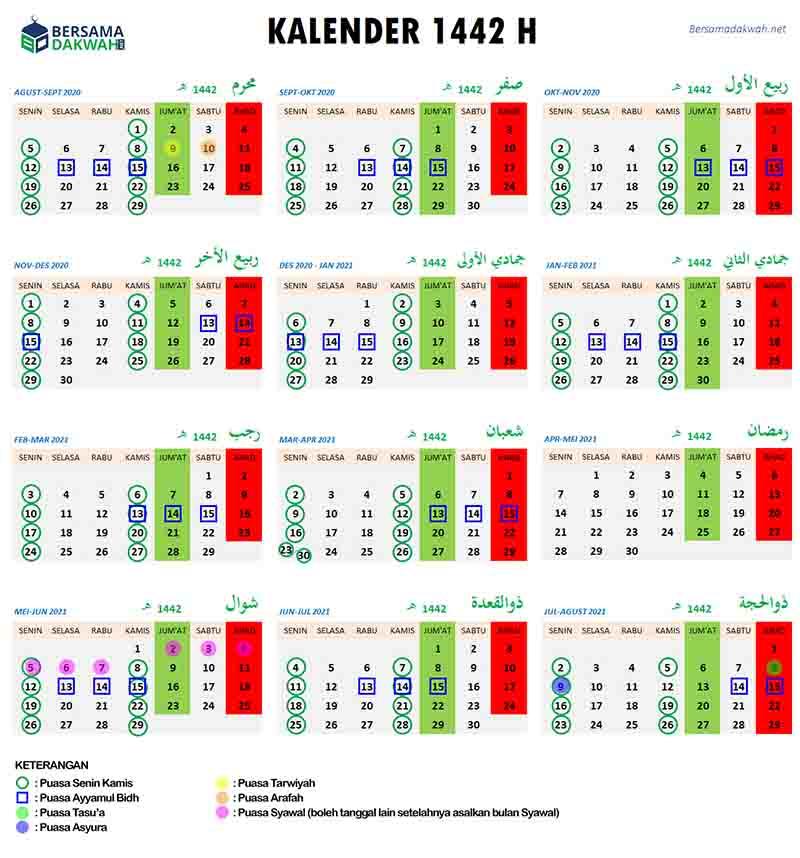 Kalender Hijriyah 1442 Dan Jadwal Puasa Sunnah Setahun