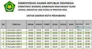 jadwal imsakiyah pekanbaru