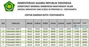 Jadwal imsakiyah yogyakarta ramadhan 2021